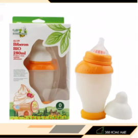 image of 【280ml】France Ecobe ORIGINAL Baby According to Safety Shatter Resistant Wide Caliber Baby Corn Handle Feeding Bottle with Straw