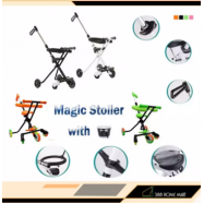 image of 5 Wheels Magic Stroller Stable Trolley Foldable Tricycle Bike with Basket + Fence - Random Colour