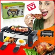 image of Electric Multi-Function Barbecue Grill with Two Egg Tray Compact Electric Barbecue Grill Home Party BBQ Birthday Party