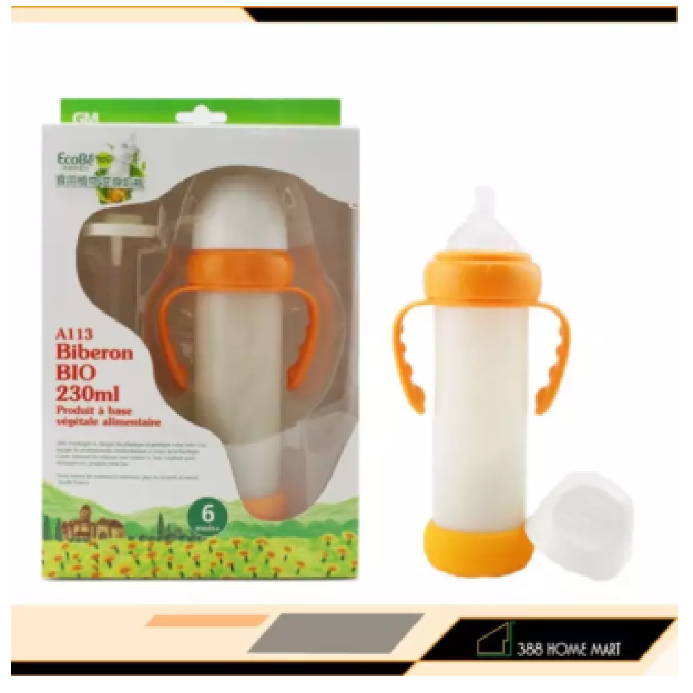 【230ml Handle with Straw】France Ecobe ORIGINAL Baby According to Safety Shatter Resistant Wide Caliber Baby Corn Handle Feeding Bottle with Straw