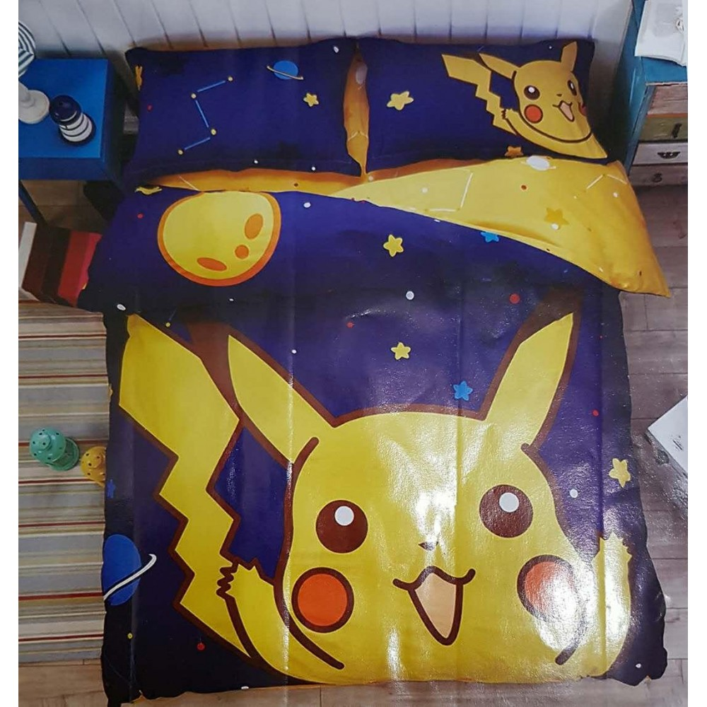 【Pikachu】Queen Size Bedding Set/ Bed Sheet/Bedclothes Bed Set Duvet Bed Cover For Children Kids Cartoon Bed Linen Cartoon
