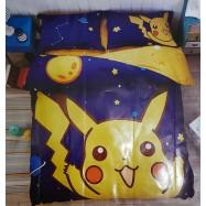 image of 【Pikachu】Queen Size Bedding Set/ Bed Sheet/Bedclothes Bed Set Duvet Bed Cover For Children Kids Cartoon Bed Linen Cartoon