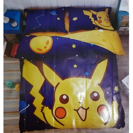 image of 【Pikachu】Queen Size Bedding Set/ Bed Sheet/Bedclothes Bed Set Duvet Bed Cover For Children Kids Cartoon Bed Linen Cartoon