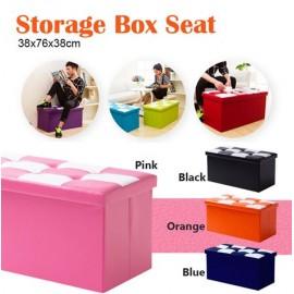 image of Foldable Storage Foot Stool Seat Footrest Folding Storage Box - Random Colour