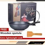 image of Korean Non-Sticky Wok 30cm Medical Stone Frying Pan Non Stick Oil Smokeless Cooker Gas Electromagnetic Stove General Pot - 韩版锅