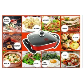 image of Multi Cooker Pot Party Korean Household Electric Hot Pot Can Deepen Vertical Handle Square Pan - 四方锅