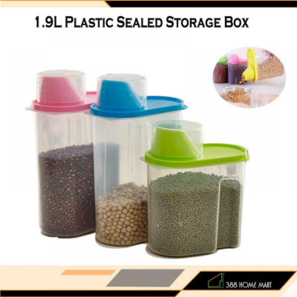 【1.9L - Small】 Plastic Sealed Storage Box Plastic Food Grain Cereal Flour Storage Box Dispenser Rice Container Sealed Tank