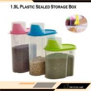 image of 【1.9L - Small】 Plastic Sealed Storage Box Plastic Food Grain Cereal Flour Storage Box Dispenser Rice Container Sealed Tank