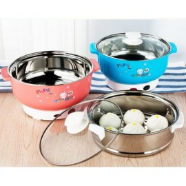 image of 【PINK 26CM】Multi Functional Hot Pot Electric Travelling Steamboat Cooker