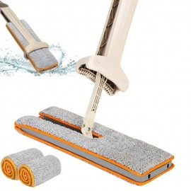 image of Double Sided Hands Free Wash Microfiber Lazy Flat Floor Spin Mop