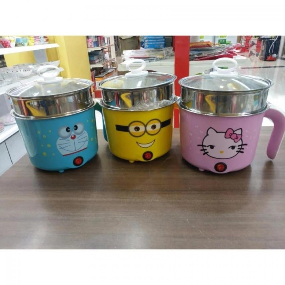 【Doraemon - Blue Colour】Multifunctional Mini Cooker Steam Hot Pot Electric Skillet