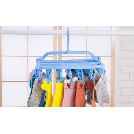 image of 32 Clip Drying Hanger Children's underwear home folding Baby Clothes Rod to dry socks - Random Colour