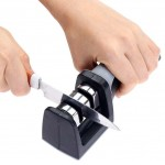 【2 Stages】Household Handle Type 2 Stages Knife Sharpener Hard Carbide Ceramic Sharpening Stone Handle - Random Colour