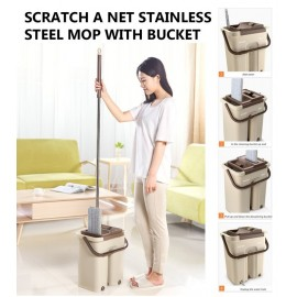 image of Hands Free Wash Stainless Steel Microfiber Lazy Flat Floor Scratch Mop