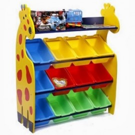 image of 【12 Box GIRAFFE】 Giraffe Rack Kids Toy Organizer with 12 Colourful Storage Bins