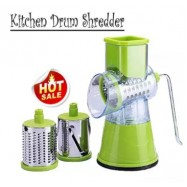 image of 【Green】Swift Rotary Drum Grater Vegetable Cheese Cutter Slicer Shredder Grinder with 3 Interchanging Ultra Sharp Cylinders Stainless Steel Drums