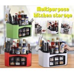 【White - Small】All in One Multifunctional Kitchen Rack Six Grid Condiments Seasoning Storage Box Kitchen Organizer Set