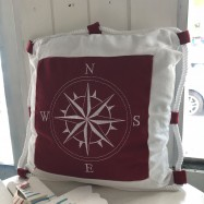 image of Mediterranean Blue Red Compass Cushion Pillow