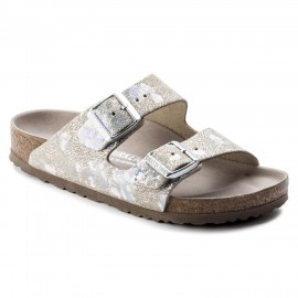 image of Arizona Natural Leather Spotted Metallic Silver Birkenstock