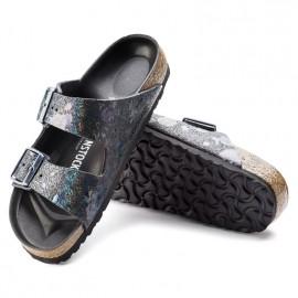 image of Arizona Natural Leather Spotted Metallic Black Birkenstock
