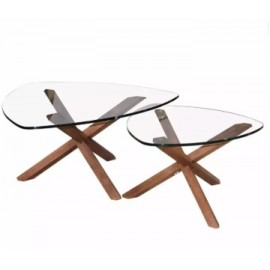image of MID CENTURY MODERN TRIPOD COFFEE TABLE 2 in 1 SET