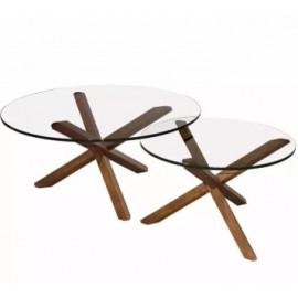 image of MID CENTURY MODERN TRIPOD ROUND COFFEE TABLE 2 in 1 SET