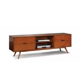 image of JACINTHA Semi Solid Wood Brown TV Cabinet