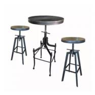 image of ZIGGAMA Vintage Industrial Stlye Bar Set with wooden seat