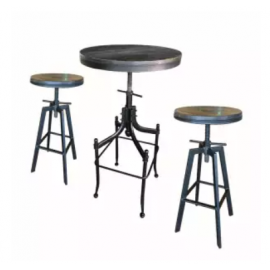 image of ZIGGAMA Vintage Industrial Stlye Bar Set with wooden seat