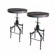 image of ZIGGAMA Vintage Industrial Style BAR TABLE with Wooden Top x2Units