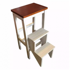 image of Kitchen Step Stool/Steps Chair Seat Table Wooden Folding (White)