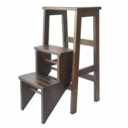 image of Kitchen Step Stool/Steps Chair Seat Table Wooden Folding (Oak)