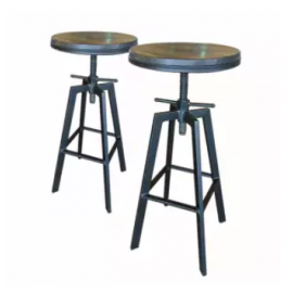 image of ZIGGAMA Vintage Industrial Stlye Bar Stool with wooden seat x2 units