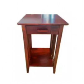 image of RYANA Solid Wood Caramel Color Side Table Height 24""