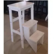 image of Kitchen Step Stool/Steps Chair With Wooden Seat (White)