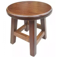 image of SENI DAYA GHome Wooden Round Stool Solid Wood - Oak