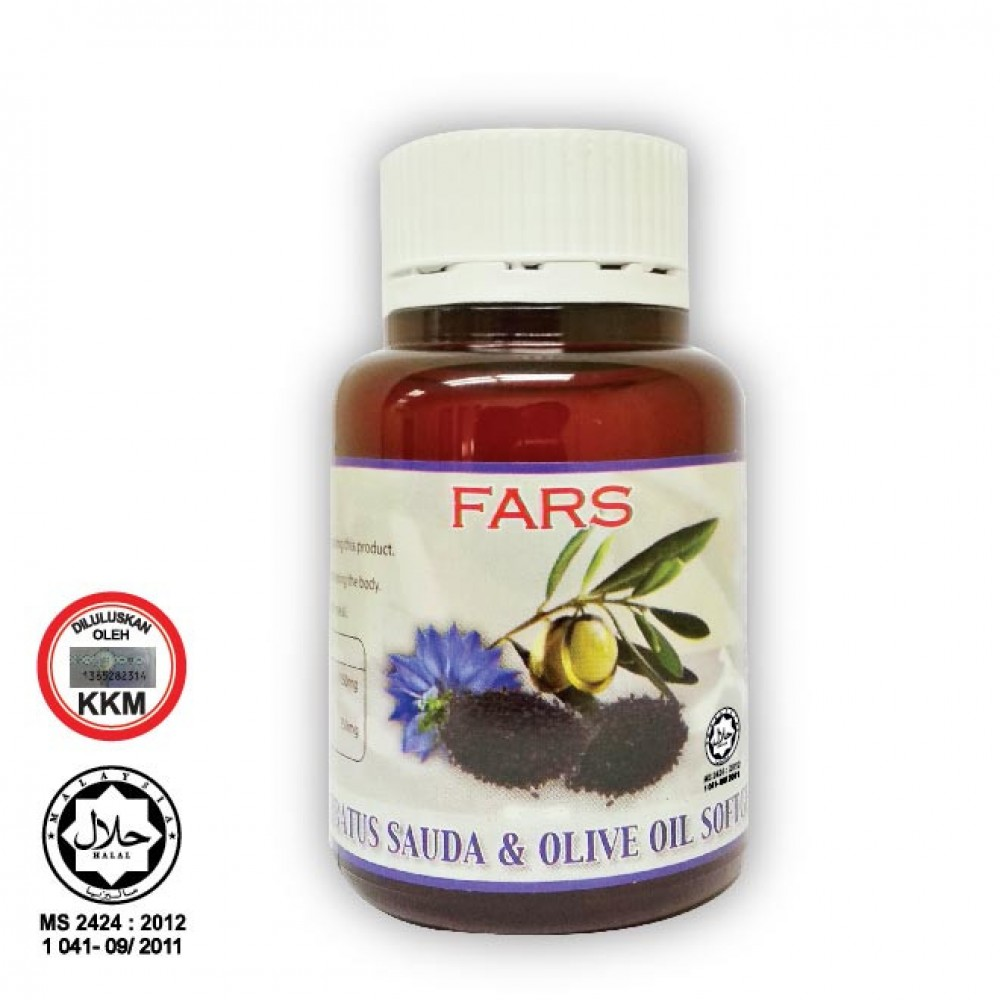 FARS HABBATUS SAUDA + OLIVE OIL SOFTGEL 500MG 60CAPS/ Minyak Black Seed + Zaitun