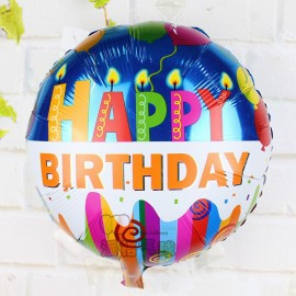 image of Happy Birthday Round 18inch Foil Balloons Helium Air Globos Balaos Gifts Decor (Design 2)