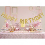 image of Happy Birthday Glitter Decor Celebrative Garland Bunting Banner Flag