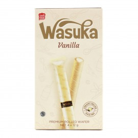 image of WASUKA WAFER ROLL VANILLA FLAVOUR 48G
