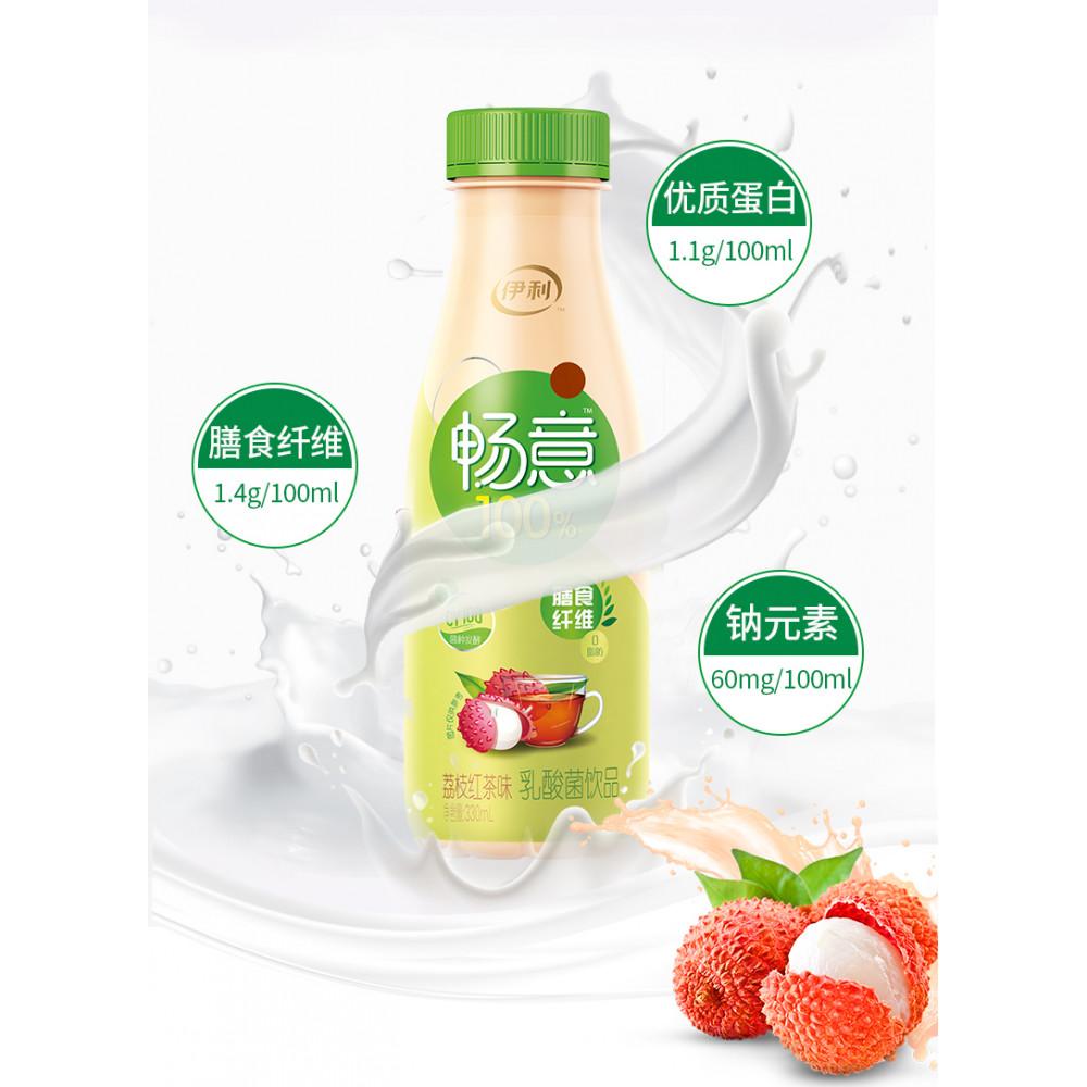 伊利畅意100%荔枝红茶味乳酸菌饮品330ML