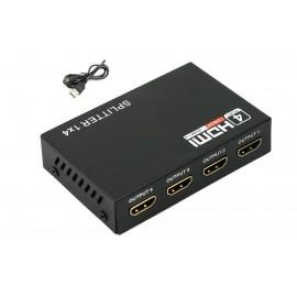 image of Full HD 1X4 1 to 4 Port HDMI Splitter Repeater 3D V1.4 + USB (S050)