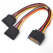 image of 15pin Male to 2x 15pin Female SATA Power Cable Splitter (S087)