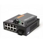 Single Mode Gigabit Fiber Media Converter + 8 Port Fiber Switch (S116)