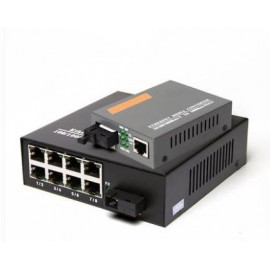 image of Single Mode Gigabit Fiber Media Converter + 8 Port Fiber Switch (S116)