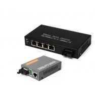 image of SM Gigabit Media Converter + 4 Port Gigabit Fiber Switch (S115)