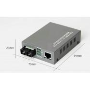 image of Single Mode Fiber to UTP Gigabit Media Converter 5V 20KM (S142)