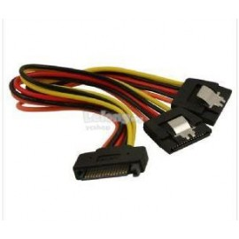 image of 15 Pin Male to 2 Female SATA Power Splitter Y Cable With Latches(S185)