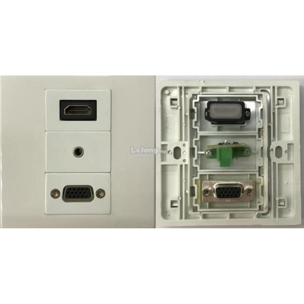 HDMI V2.0 VGA AUDIO FACE PLATE WALL PLATE (S190)