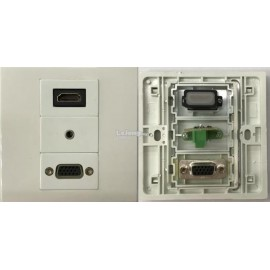 image of HDMI V2.0 VGA AUDIO FACE PLATE WALL PLATE (S190)